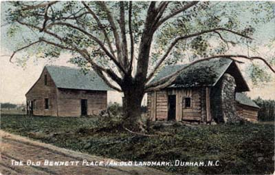 Postcard image of buildings at the Bennett Place farm, in Durham, N.C., image ca. 1910. The Bennett farm was built circa 1836. From the NC Postcards Collection, UNC-Chapel Hill.