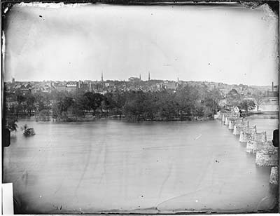 Photograph of the skyline of Richmond, VA, 1860-1865 by Matthew Brady. By 1860, Richmond was an industrial center with a population of 37,000. By contrast, in 1860 Wilmington, one of North Carolina's largest cities, had a population of 9,500 and Charlotte a population of 2,200. Boston, a northern city, had a population of nearly 178,000. North Carolina was still a very rural state of many small farms. Image from the collection of the National Archives.