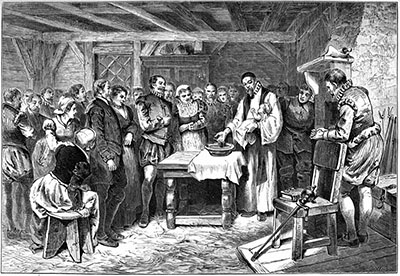 Lithograph of the Baptism of Virginia Dare, first English child born in the new world and grandchild of John White. This lithograph was created and published in 1876.