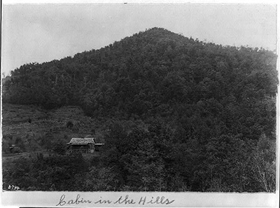 "The ""backcountry"" referred to the lands we now know as the Piedmont and Mountain regions. This photograph of a cabin in the mountains of Western North Carolina was taken in the early 1900s by William A. Barnhill. Courtesy of Library of Congress."