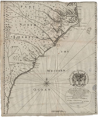 John Lawson's 1709 map of North Carolina. Features Bath, Roanoke, and other early coastal towns of North Carolina. Map courtesy of State Archives and  UNC Libraries.