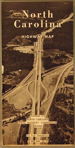 Cover image for a N.C. Highway Commision highway map, 1962. From the collection of the N.C. Museum of History, used courtesy of the N.C. Department of Natural and Cultural Resources.