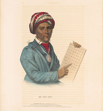 Sequoyah transferred 86 Cherokee syllables to symbols, translating the previously only spoken language of Cherokee to a written language in 1821. This lithograph shows Sequoyah with the Cherokee syllabary and is courtesy of Library of Congress.