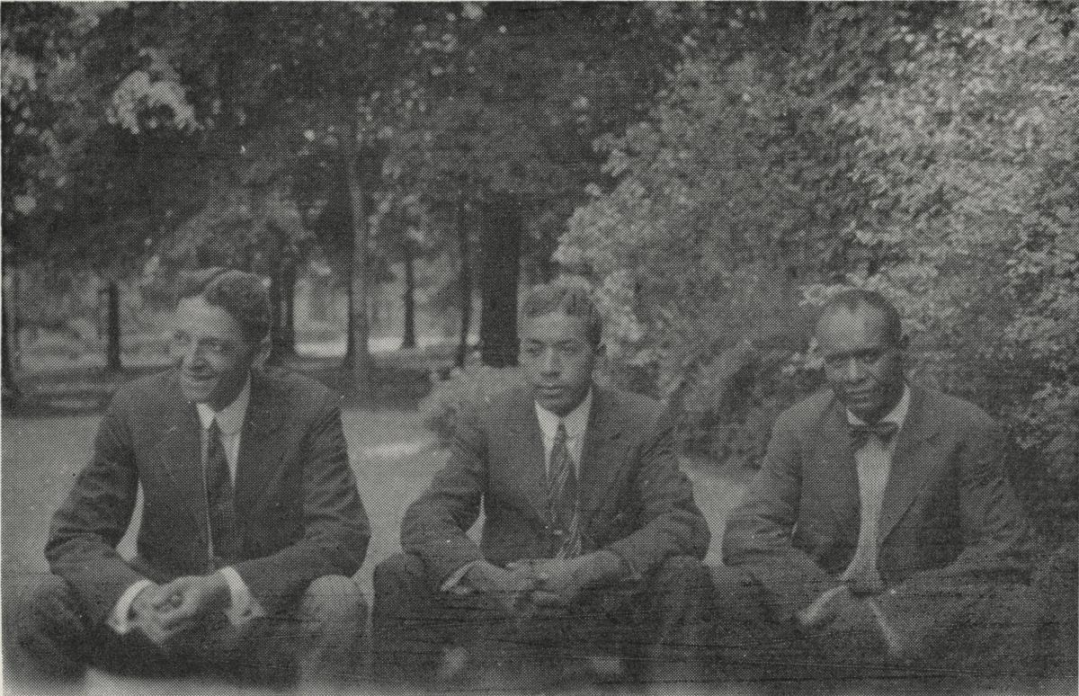 Photo of (left to right) D. K. Cherry, George B. Love and B. W. Barnes on A&T College Campus. C. 1920, Published in A&T ...at seventy-five...A Story of Progress and Service. The Bulletin of A&T College, Vol. 58, No.5, April 1967