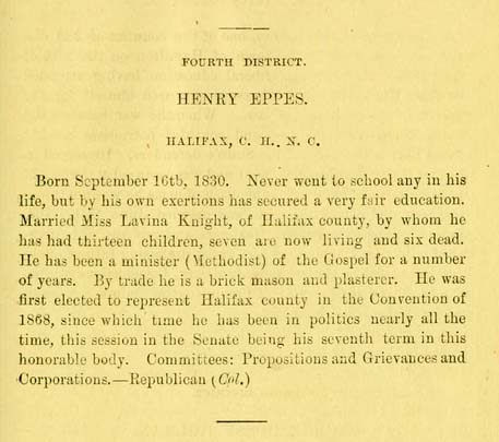 "Image of biographical entry for Henry Eppes, from the ""Tar heel sketch-book. A brief biographical sketch of the life and public acts of the members of the General assembly of North Carolina. Session of 1879""."