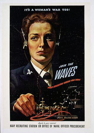 """It's A Woman's War Too!"" WAVES poster, created by John Philip Falter, 1942. Item LC-USZC4-1856, from the Library of Congress Prints and Photographs Online Catalog."