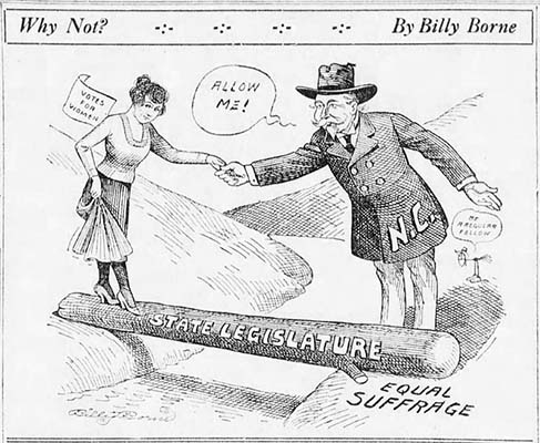 """Why Not?"", political cartoon about women's suffrage, by Billy Borne, published in the Asheville Citizen, June 26, 1920."