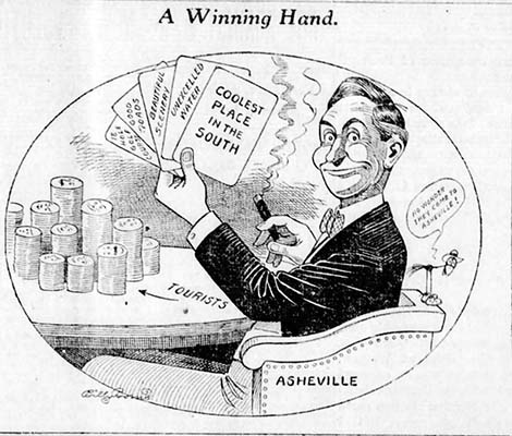 """A Winning Hand,"" cartoon about Asheville, N.C. ""coolest place in the South,"" by Billy Borne, published in the Asheville Citizen, July 27, 1915."