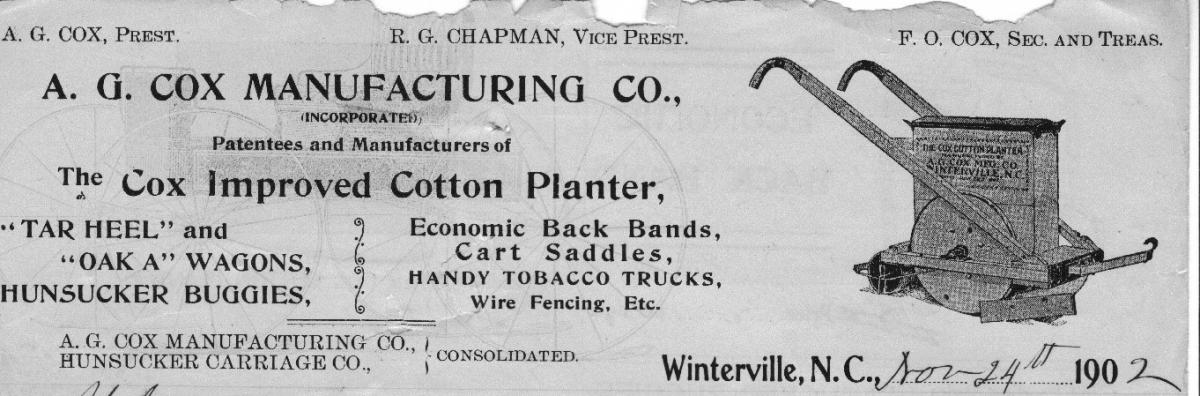 Image of the letterhead for the A.G. Cox Manufacturing Company showing a Cox plow. Used by permission.