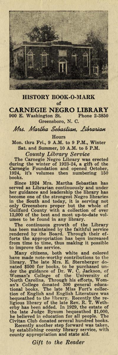 "This ""history book-o-mark"" for Greensboro's Carnegie Negro Library gives a brief history of the library and Martha Sebastian's librarianship. Courtesy of the State Library of North Carolina's digital collection."