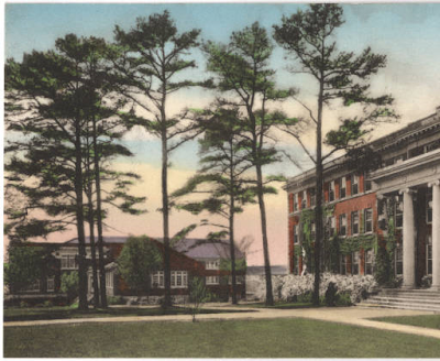 Postcard image of Shaw Residence Hall at NC College for Women (now UNCG), designed by Harry Barton, opened in 1919, courtesy of University of North Carolina at Greensboro Special Collections and University Archives.