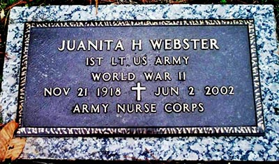 Photograph of Juanita Hartense Hamilton Webster's grave marker at the Blue Ridge Gardens of Memory, Transylvania County, North Carolina. By Patty McFerren-Blanton and JR Blanton, on Find A Grave.