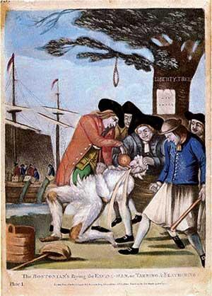 This British illustration shows the tarring and feathering of Boston Commissioner of Customs John Malcolm in 1774, shortly after the Boston Tea Party.
