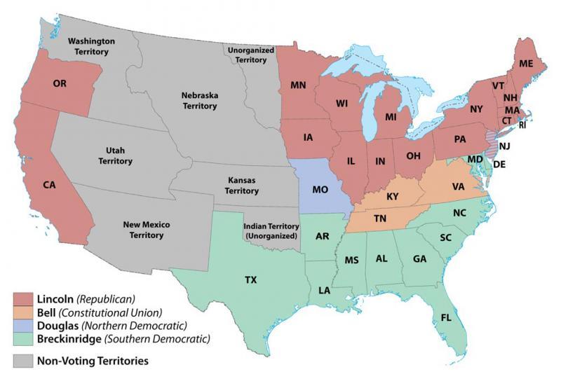 1860 U.S. electoral map | NCpedia