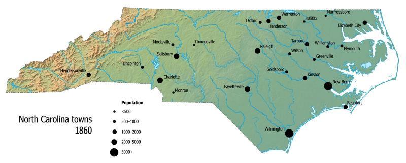 North Carolina towns, 1860 | NCpedia