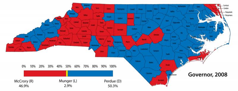 2008 NC Governor Election Returns Map