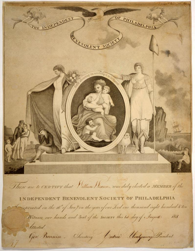 Membership certificate for the Independent Benevolent Society of Philadelphia