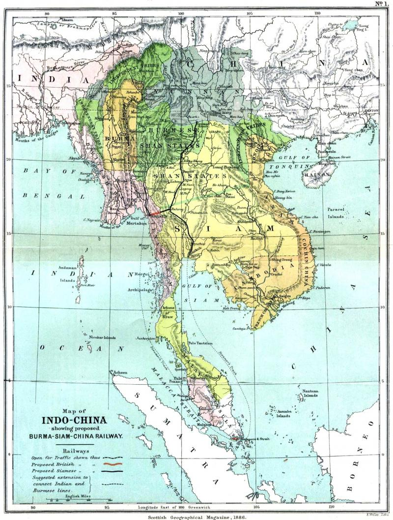 Map of Indo-China, showing proposed Burma-Siam-China Railway ... Map Of Anam State on schneider map, jvc map, alba map, scott map, siam map, atlantic map,