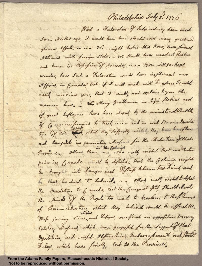 """<img typeof=""""foaf:Image"""" src=""""http://statelibrarync.org/learnnc/sites/default/files/images/adams_had_declaration_p1.jpg"""" width=""""1307"""" height=""""1714"""" alt=""""Letter from John Adams to Abigail Adams, 3 July 1776 - Had a declaration..."""" title=""""Letter from John Adams to Abigail Adams, 3 July 1776 - Had a declaration..."""" />"""