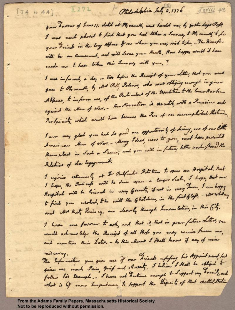 """<img typeof=""""foaf:Image"""" src=""""http://statelibrarync.org/learnnc/sites/default/files/images/adams_your_favor_p1.jpg"""" width=""""1340"""" height=""""1767"""" alt=""""Letter from John Adams to Abigail Adams, 3 July 1776"""" title=""""Letter from John Adams to Abigail Adams, 3 July 1776"""" />"""