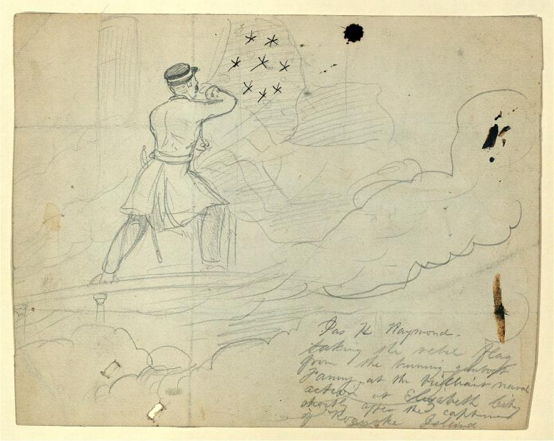 Soldier's sketch of Raymond taking of the Confederate flag at Elizabeth City