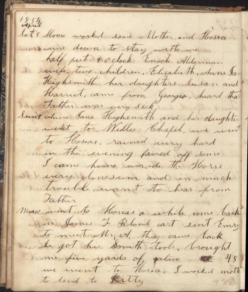 "<img typeof=""foaf:Image"" src=""http://statelibrarync.org/learnnc/sites/default/files/images/alderman_1854_2.jpg"" width=""2000"" height=""2355"" alt=""Penelope Alderman diary"" title=""Penelope Alderman diary"" />"