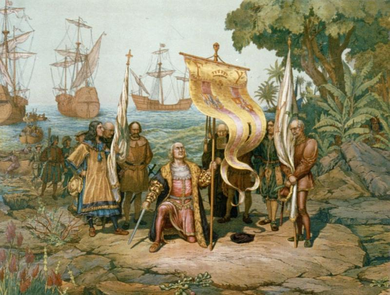 "<img typeof=""foaf:Image"" src=""http://statelibrarync.org/learnnc/sites/default/files/images/columbus_taking_possession.jpg"" width=""1200"" height=""907"" alt=""Columbus taking possession of the New World"" title=""Columbus taking possession of the New World"" />"