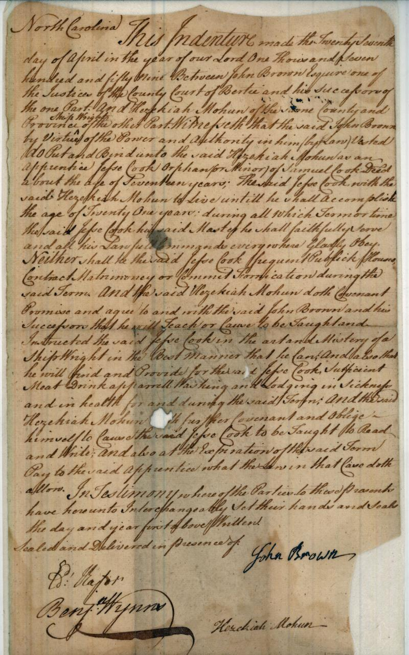 A colonial indenture