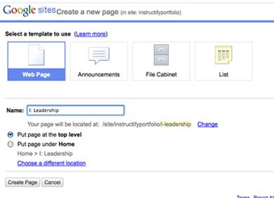 Google Sites Screenshot Create Page Ncpedia
