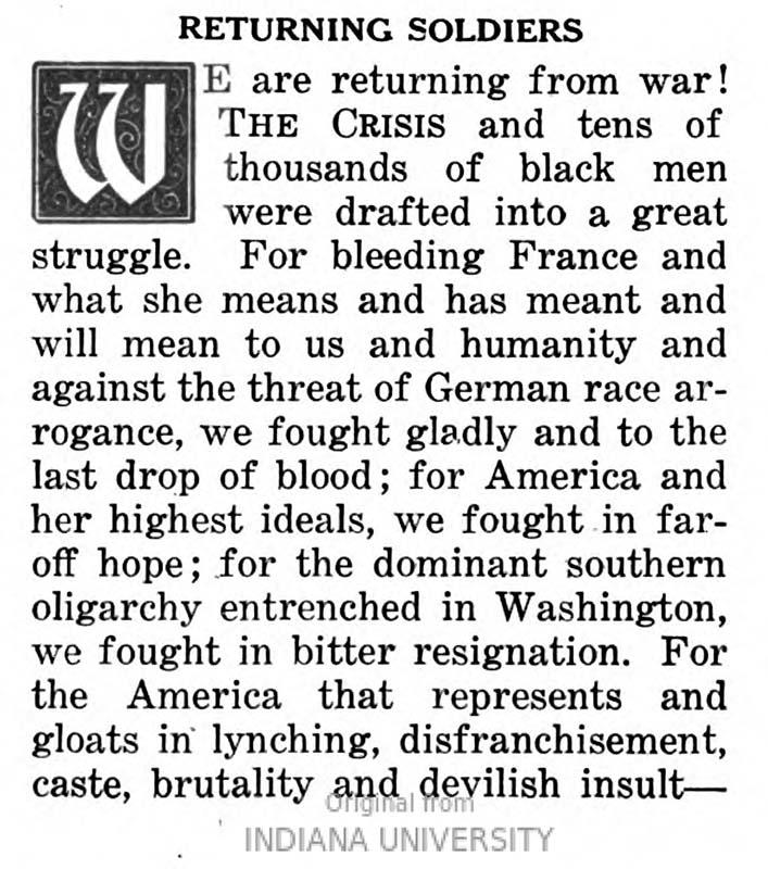 """Image of the first paragraph of an editorial, """"Returning Soldier"""", by WEB Du Bois and published in The Crisis (18: May 1919)."""
