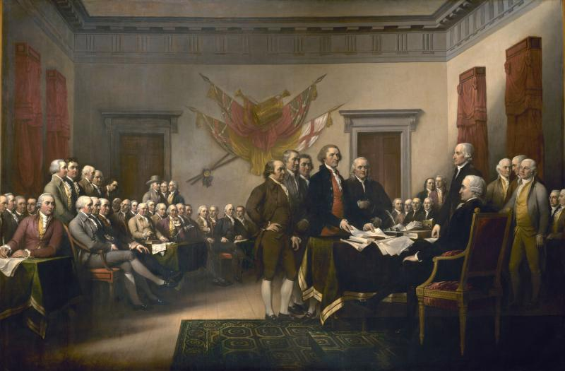 John Trumbull's famous painting, Declaration of Independence, depicts the presentation of the first draft of the Declaration of Independence to the Second Continental Congress on June 28, 1776 in Philadelphia.