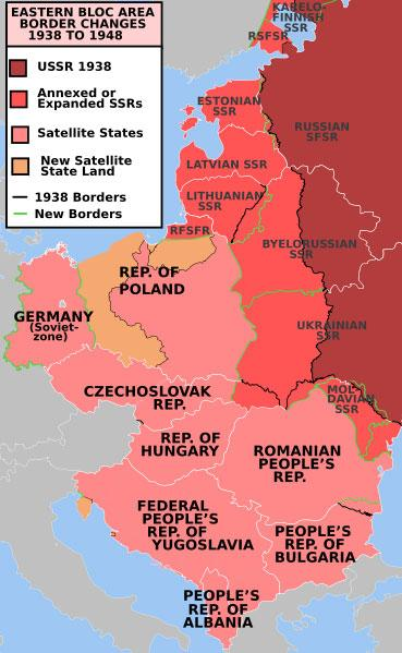 Map showing communist states of Eastern Europe from 1938 to 1948.