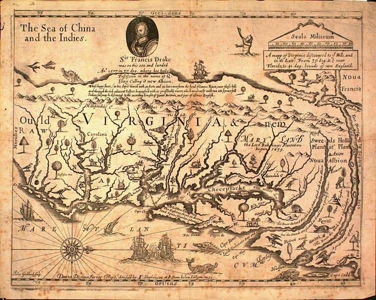 A map of Virginia discovered to ye Hills, 1651 | NCpedia