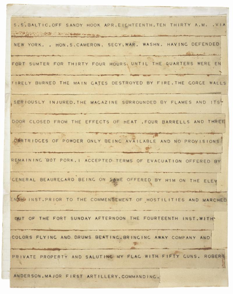 "<img typeof=""foaf:Image"" src=""http://statelibrarync.org/learnnc/sites/default/files/images/fort_sumter_telegram.jpg"" width=""813"" height=""1024"" alt=""Telegram announcing the surrender of Fort Sumter"" title=""Telegram announcing the surrender of Fort Sumter"" />"