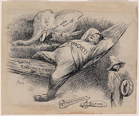 "Cartoon shows Congress as a fat man asleep in a hammock labeled ""Law Enforcement."" A broken blunderbuss, labeled ""14th Amendment, 2nd Section,"" lies at his feet. A small black boy walks by holding a drum, but an elephant cautions, ""Don't wake him up!"""