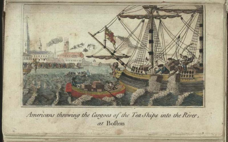 "Image of W.D. Cooper's 1789 engraving of the ""Americans throwing the Cargoes of the Tea Ships into the River, at Boston,"" 1789.  Today we refer to the event as the ""Boston Tea Party."""