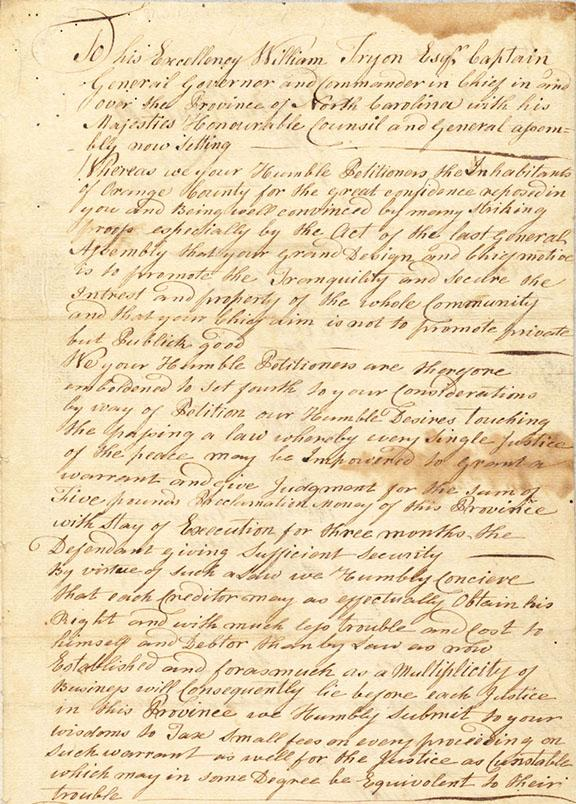 Image of the original petition of Orange County to Governor Tryon, May 1768.  In the petition, the signers apologize for recent acts of violence by Regulators and ask the Governor to address the illegal fees demanded by court officials.  The original petition is located in the collection of the State Archives of N.C.