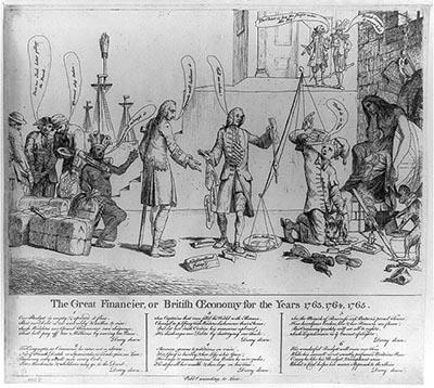"""This print shows George Grenville holding a balance with scales """"Debts"""" and """"Savings."""" The debt far outweighs savings! Among those in line to contribute their savings is a Native American woman (representing America), she wears a yoke labeled """"Taxed without representation"""". A representative of Great Britain sits on the far right."""