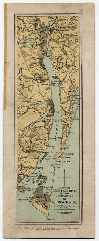 Map of the Cape Fear River and the approaches to Wilmington N.C. circa 1862