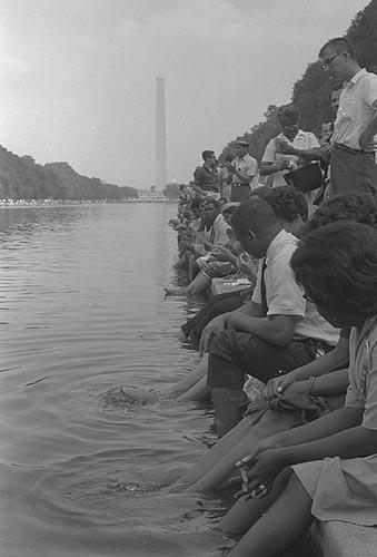 March on Washington demonstrators with their feet in the Reflecting Pool, 1963