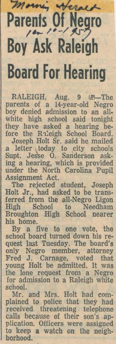 "This is an image of the article ""Parents of Negro Boy Ask Raleigh Board for Hearing"" from August 9, 1957."