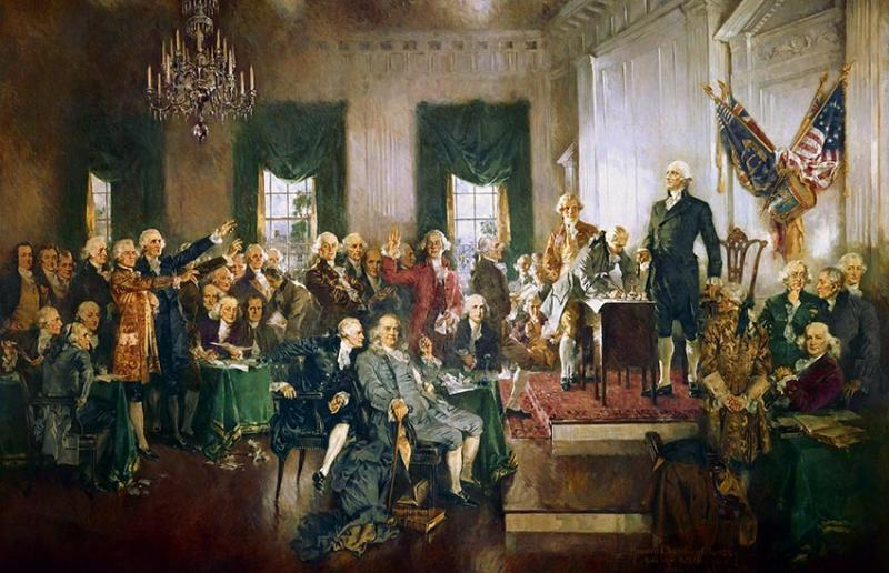 This is an image of the signing of the Constitution of the United States with George Washington presiding over the Philadelphia Convention.