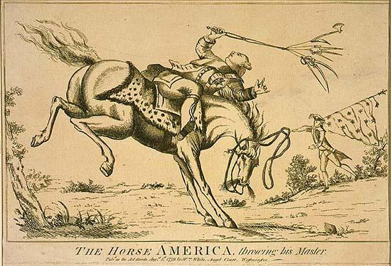 "This is an image of a horse throwing its rider, King George III. It is titled ""The horse America, throwing his master."" The etching represents the sentiment that the colonies' desire to ""throw off"" British Colonial rule was akin to a horse throwing its master. (1779 print from Library of Congress, British Cartoon Prints Collection.)"