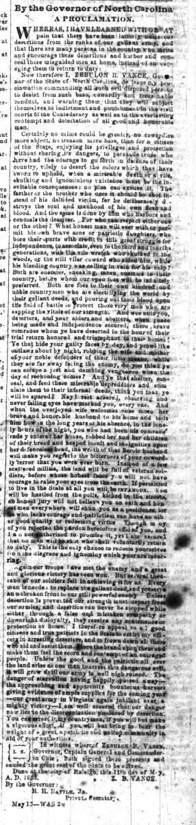 Vance's Proclamation Against Deserters as published in the Weekly Raleigh Register on May 20, 1863.