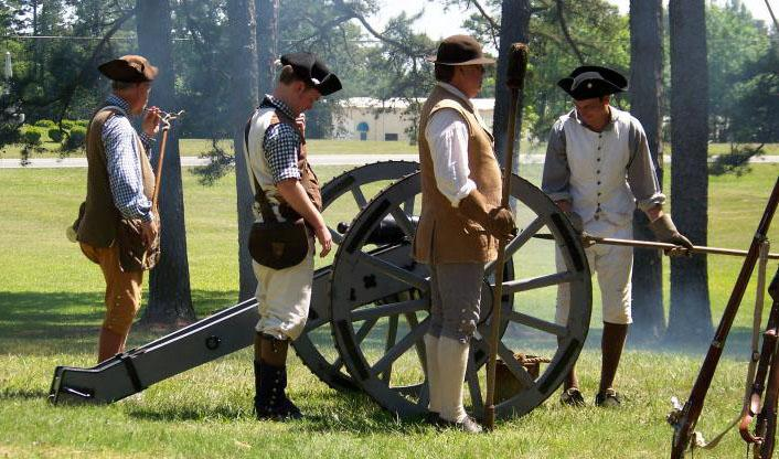 Image of re-enactors preparing a cannon at Alamance Battleground Historic Site in Alamance County, N.C.  After several years of increasing rebellion and violence from backcountry residents protesting fees and government corruption, Governor Tryon sent militia to deal with the Regulators at Alamance in May of 1771.  The battle occurred on May 16, with Tryon's military taking the victory.  Several Regulators were taken captive and charged, and 6 were hanged.
