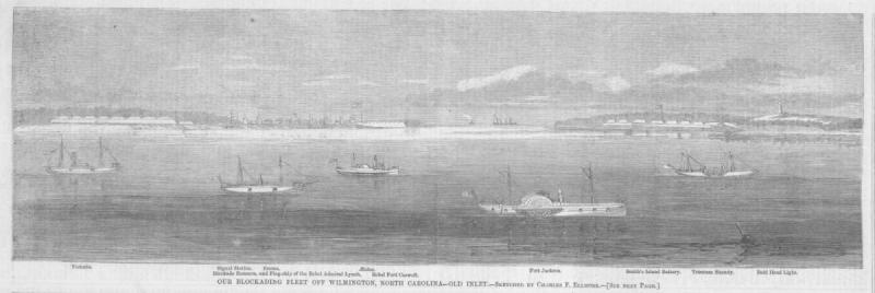 """Image from the December 1864 of Harper's Weekly depicting the """"blockading fleet off Wilmington"""" at Old Inlet."""