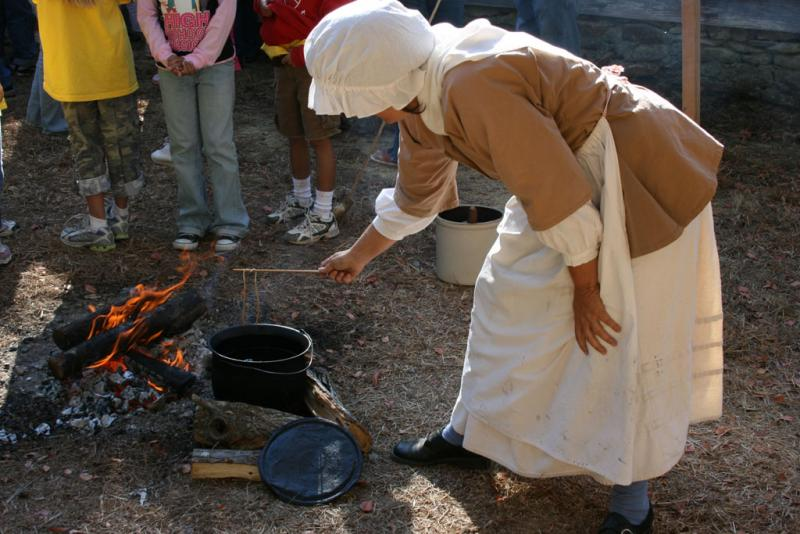 Colonial candle-making demonstration