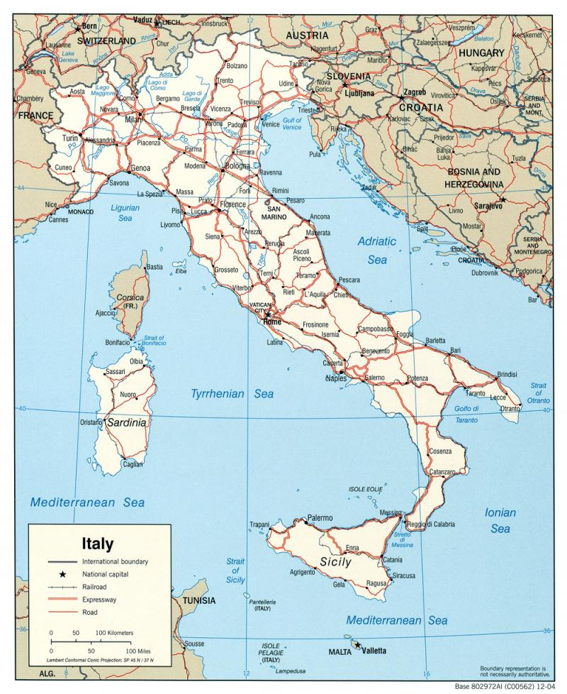 Railroad Map Of Italy.Political Map Of Italy Ncpedia
