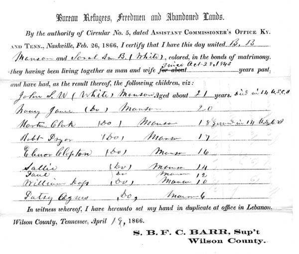 Marriage certificate issued by the Freedmen's Bureau