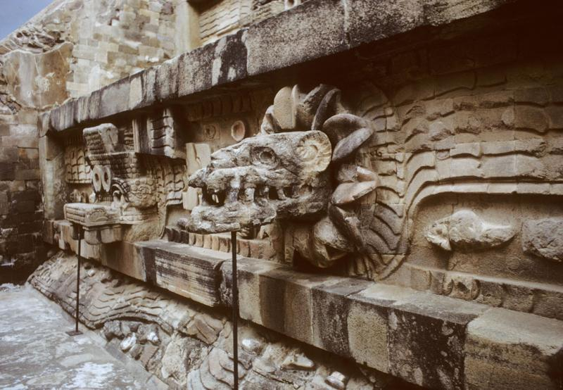 Carved stone wall in teotihuacan mexico ncpedia